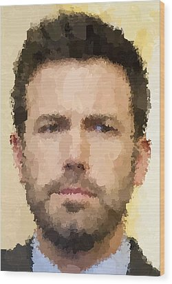 Ben Affleck Portrait Wood Print by Samuel Majcen