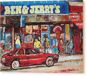 Ben And Jerrys Ice Cream Parlor Wood Print by Carole Spandau