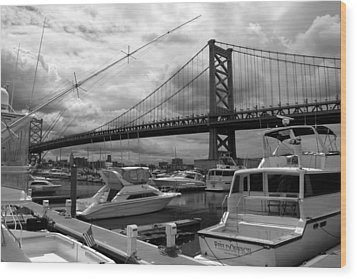 Wood Print featuring the photograph Ben Franklin Bridge by Dorin Adrian Berbier