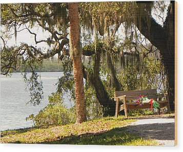 Bench By The Lake Wood Print by Rosalie Scanlon