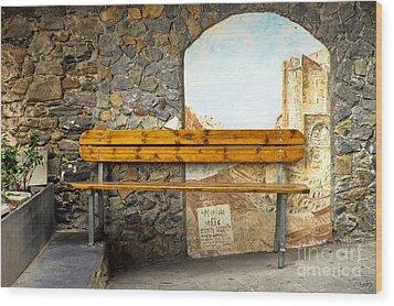 Bench In Riomaggiore Wood Print