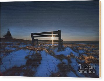 Bench On Top Of Mountain At Sunset Wood Print by Dan Friend