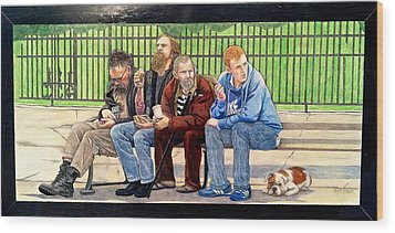 Bench People Series-the Guys  Wood Print by Betsy Frahm