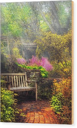 Bench - Tranquility II Wood Print by Mike Savad