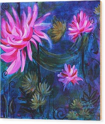 Beneath Dark Lotus Waters Wood Print