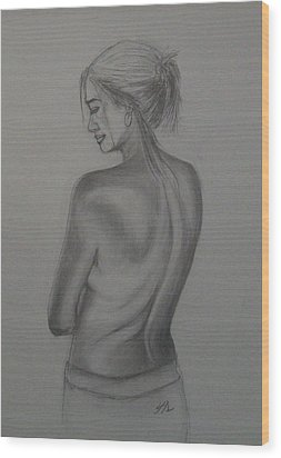 Wood Print featuring the drawing Beneath The Surface by Jane  See