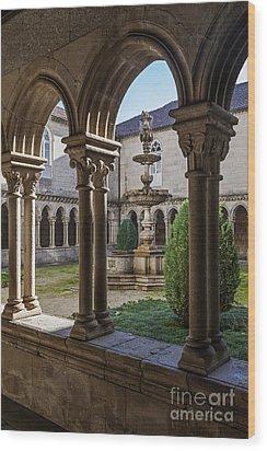 Benedictine Gothic Cloister Wood Print by Jose Elias - Sofia Pereira