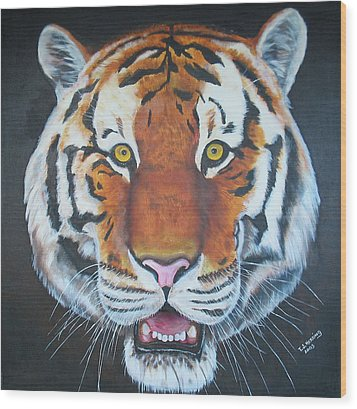 Wood Print featuring the painting Bengal Tiger by Thomas J Herring