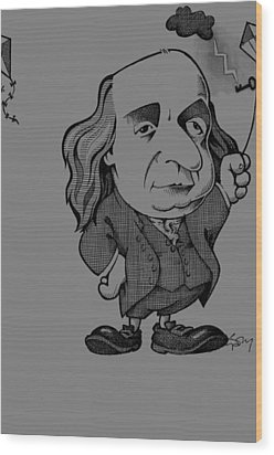 Benjamin Franklin, Caricature Wood Print by Science Photo Library
