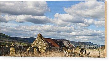 Wood Print featuring the photograph Bennachie With Derelict Steading by Liz  Alderdice