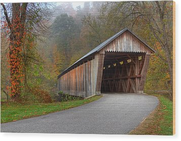 Bennett Mill Covered Bridge Wood Print by Jack R Perry
