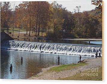 Wood Print featuring the photograph Bennett Springs Spillway by Sara  Raber