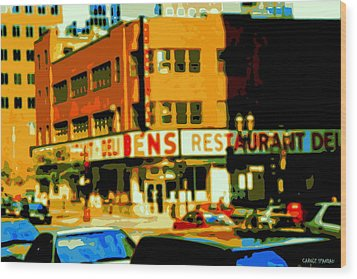 Ben's Restaurant Vintage Montreal Landmarks Nostagic Memories And Scenes Of A By Gone Era Wood Print by Carole Spandau