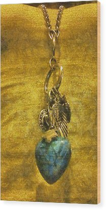 Bensen Turquoise Heart Wood Print by Lorri Crossno