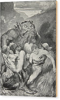 Beowulf Print Wood Print by John Henry Frederick Bacon