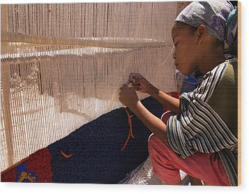 Berber Girl Working On Traditional Berber Rug Ait Benhaddou Southern Morocco Wood Print by Ralph A  Ledergerber-Photography