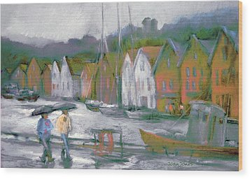 Bergen Bryggen In The Rain Wood Print by Joan  Jones
