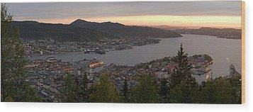 Bergen Sunset Panorama Wood Print by Benjamin Reed