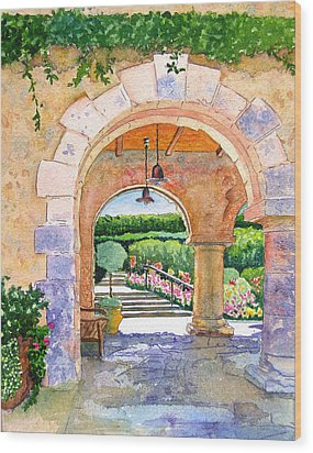 Beringer Winery Archway Wood Print by Gail Chandler