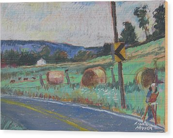 Wood Print featuring the painting Berkshire Mountain Painter by Linda Novick