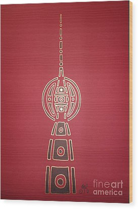 Berlin Alex Wood Print by Achim Klein