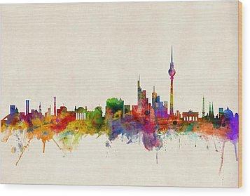 Berlin City Skyline Wood Print by Michael Tompsett