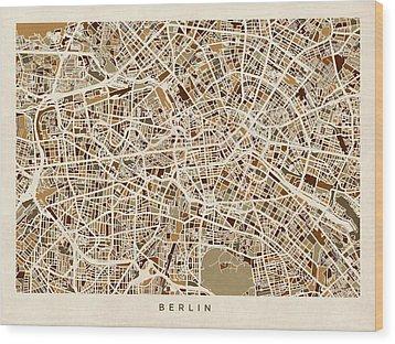 Berlin Germany Street Map Wood Print by Michael Tompsett