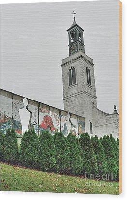 Berlin Wall Segment Wood Print by David Bearden