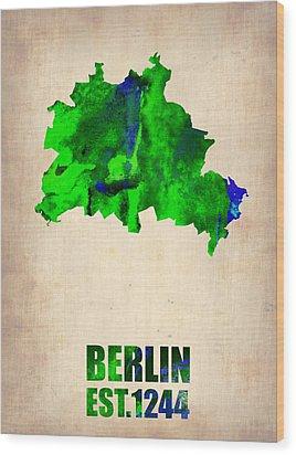 Berlin Watercolor Map Wood Print by Naxart Studio