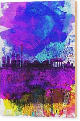 Berlin Watercolor Skyline Wood Print by Naxart Studio
