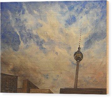 Berliner Sky Wood Print by Juan  Bosco