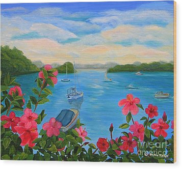 Bermuda Hibiscus - Bermuda Seascape With Boats And Hibiscus Wood Print by Shelia Kempf