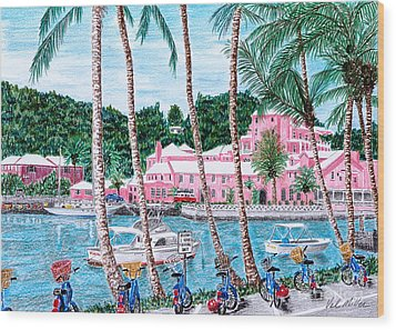 Wood Print featuring the painting Bermuda Pink Hotel by Val Miller