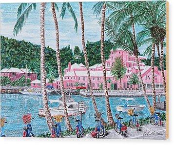 Bermuda Pink Hotel Wood Print by Val Miller