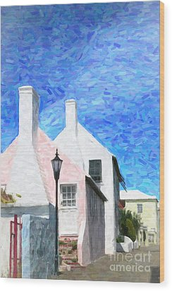 Wood Print featuring the photograph Bermuda Side Street by Verena Matthew