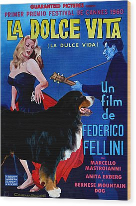 Bernese Mountain Dog Art Canvas Print - La Dolce Vita Movie Poster Wood Print