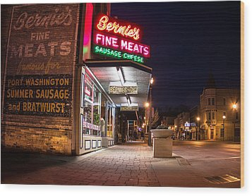 Bernies Fine Meats Signage Wood Print by James  Meyer