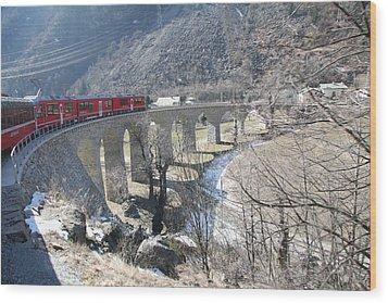 Bernina Express In Winter Wood Print