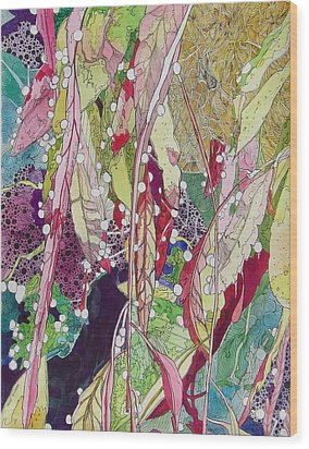 Berries And Cactus Wood Print by Terry Holliday