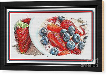 Berries And Yogurt Illustration - Food - Kitchen Wood Print by Barbara Griffin