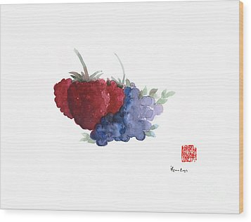 Berries Red Pink Black Blue Fruit Blueberry Blueberries Raspberry Raspberries Fruits Watercolors  Wood Print