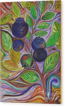 Wood Print featuring the painting Berry Bush by Cynthia Lagoudakis