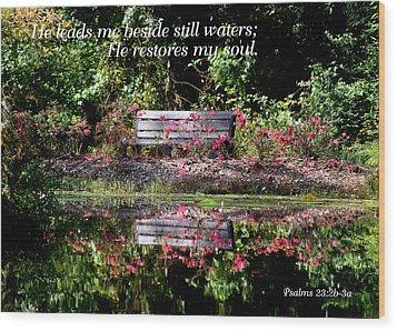 Beside Still Waters Wood Print