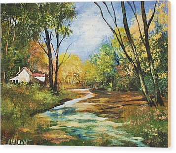 Wood Print featuring the painting Beside The Stream by Al Brown