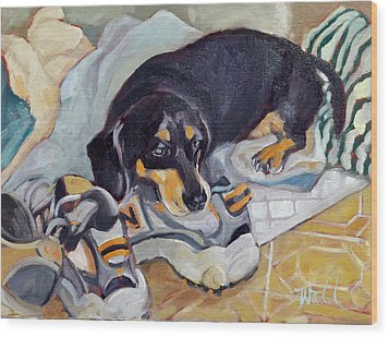 Wood Print featuring the painting Best Dog In The Whole World by Pattie Wall