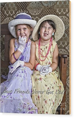 Best Friends Card Wood Print