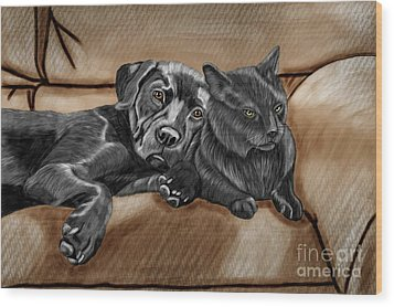 Best Friends Wood Print by Karen Sheltrown
