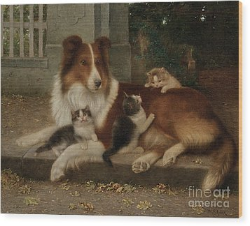 Best Of Friends Wood Print by Wilhelm Schwar
