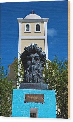Betances Monument And Lares Church Wood Print by Ricardo J Ruiz de Porras