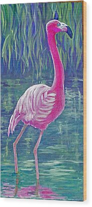 Beta's Flamingo Wood Print
